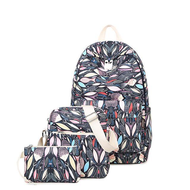 Rugzakken voor tienermeisjes schooltassen Backpack Fashion Canvas 3 stuks.  Women's Bag schoudertas Purse