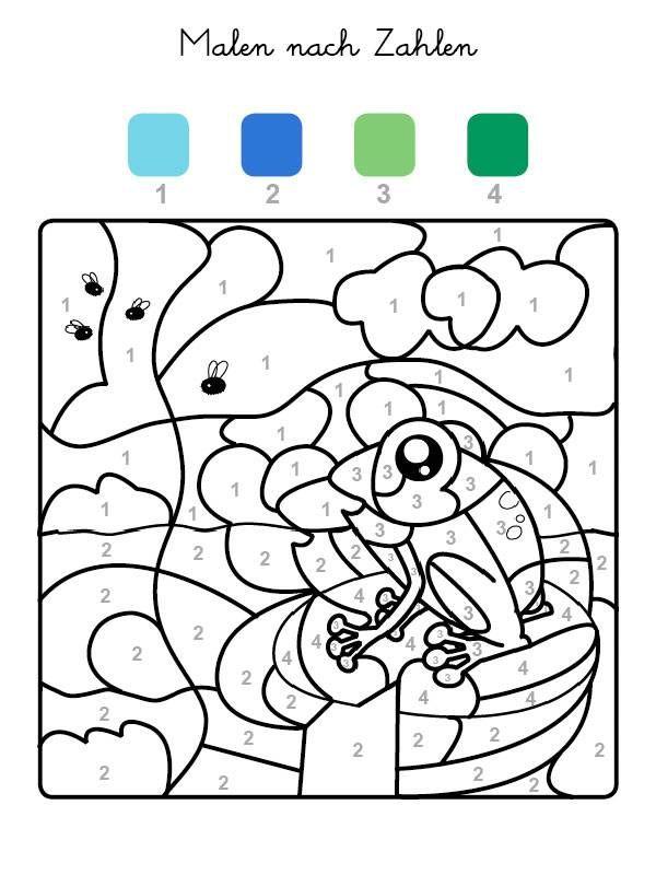 Die Felder Mit Der Zahl 1 Werden Hellblau Felder Mit Der Zahl 2 Dunkelblau Die Mit Der Zahl 3 Hellgru Malen Nach Zahlen Malen Nach Zahlen Kinder Frosch Malen