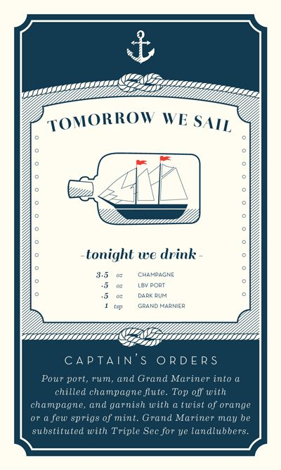 Lovely simple cards. Nautical Cocktail Recipe Card…