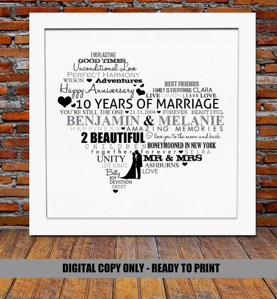 10 Wedding Anniversary Gift Ideas: Personalized 10th Anniversary Gift -10 Years Anniversary