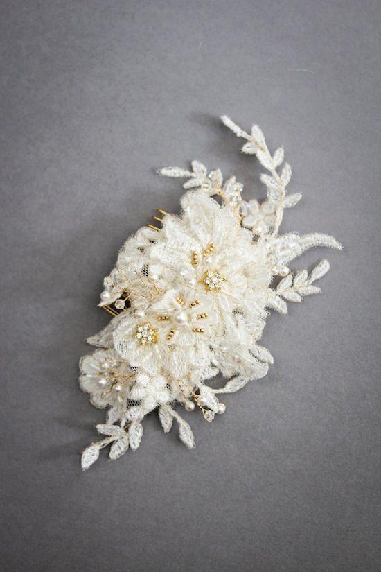 Beaded lace headpiece by Percy Handmade