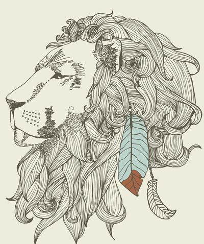 Line Drawing of Feathered Lion Head. illustration