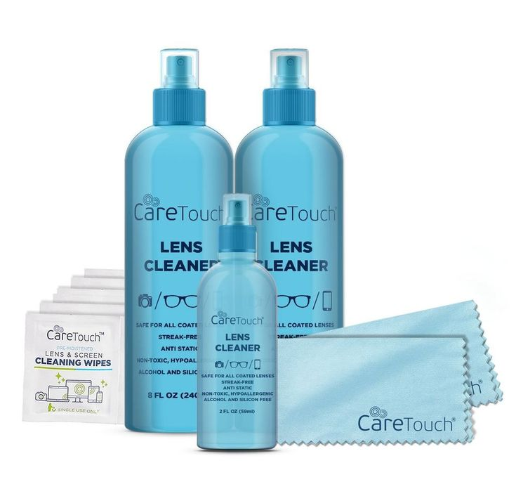 Care Touch Lens Cleaner Care Pack Kit - 3 Lens Cleanser Spray Bottles, 6 Lens Wi #CareTouch