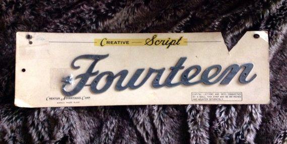 Vintage Creative Script House Number FOURTEEN on Etsy, $15.00