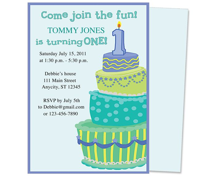 Sweet Cakes 1st Birthday Invitation Template. Adorable first birthday party invitations you can edit; printable DIY. Easy to do!