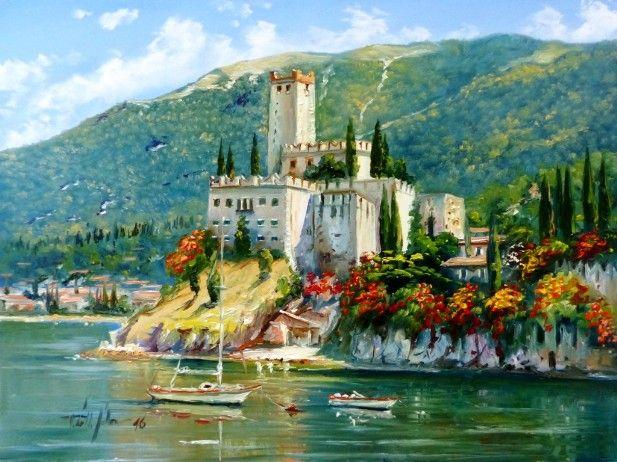 V Tóth Gábor festőművész Malcesine, Garda tó, Itália 30x40 olajfestmény
