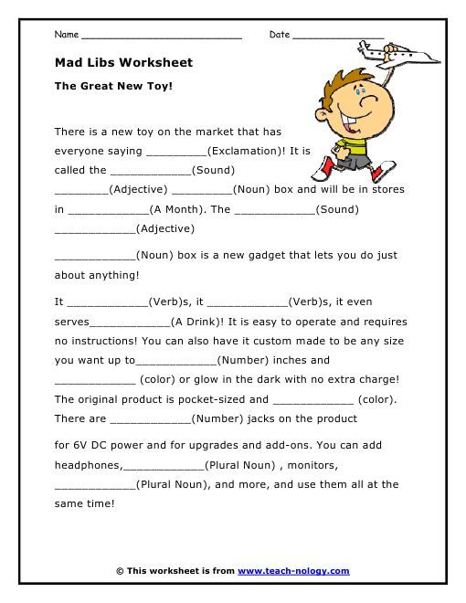 Mad libs parts of speech worksheets.