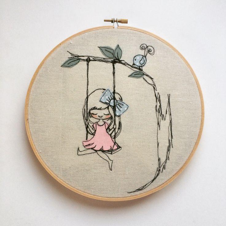 Having a swing Hoop art Freemotion embroidery