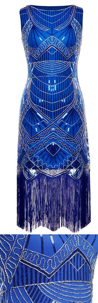 Royal Blue and Silver Beaded 1920s Gatsby Full Sequined Tassels Hem Flapper Party Dress. Flappergirls Popular Speakeasy Gatsby theme birthday, new years eve, Halloween, Christmas Party outfits. #Gatsby #gatsbyparty #flappergirls #roaring20s #speakeasy #jazzagelawnparty #outfits #sequindress #affiliatelink #amazon