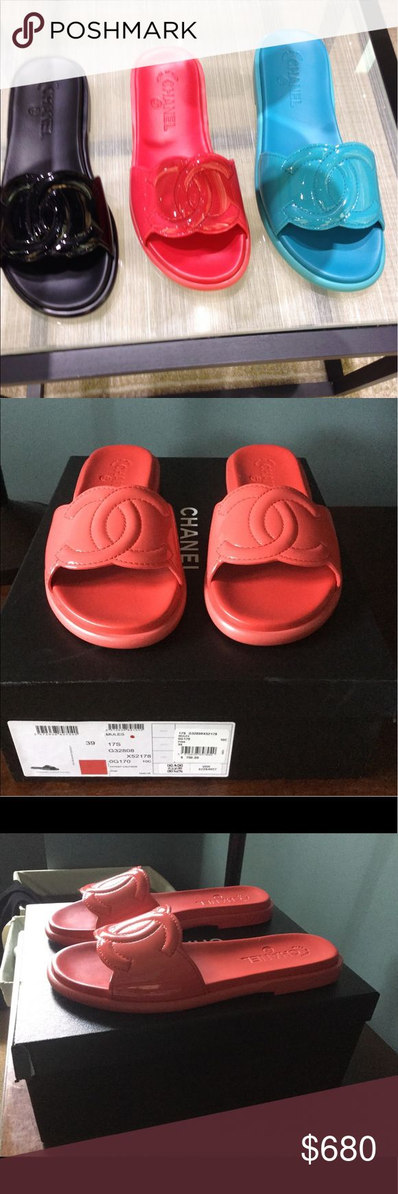 Authentic NEW Chanel Maxi Slides Coral Pink Patent Brand new, never worn, authentic Chanel Coral Pink Patent Leather Maxi CC Slides. Comes with box, shoe bags, ribbon, camellia flower, and copy of the receipt as shown in the last photo. CHANEL Shoes