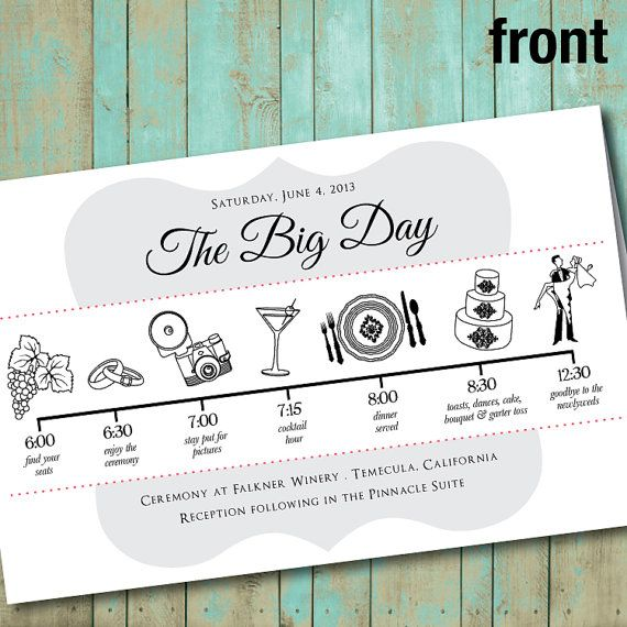 wedding program with wedding party silhouettes and big day timeline digital printable file