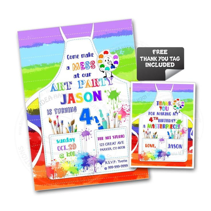 Custom Art Party Printable Invitation with FREE Thank you Tag-DIY Digital File-Colorful Painter'as Apron Birthday Invitation -You Print