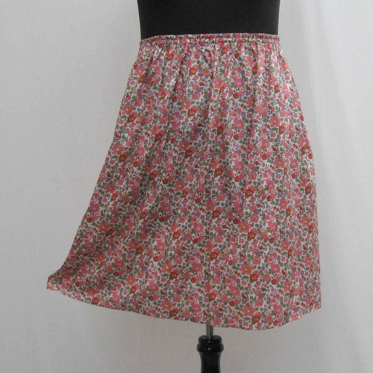Pink floral Skirt, plus size skirt, pink skirt, flowers skirt, cotton lawn skirt, skirt with pockets, 1x 2x 3x 4x skirt, strapless top by Rethreading on Etsy