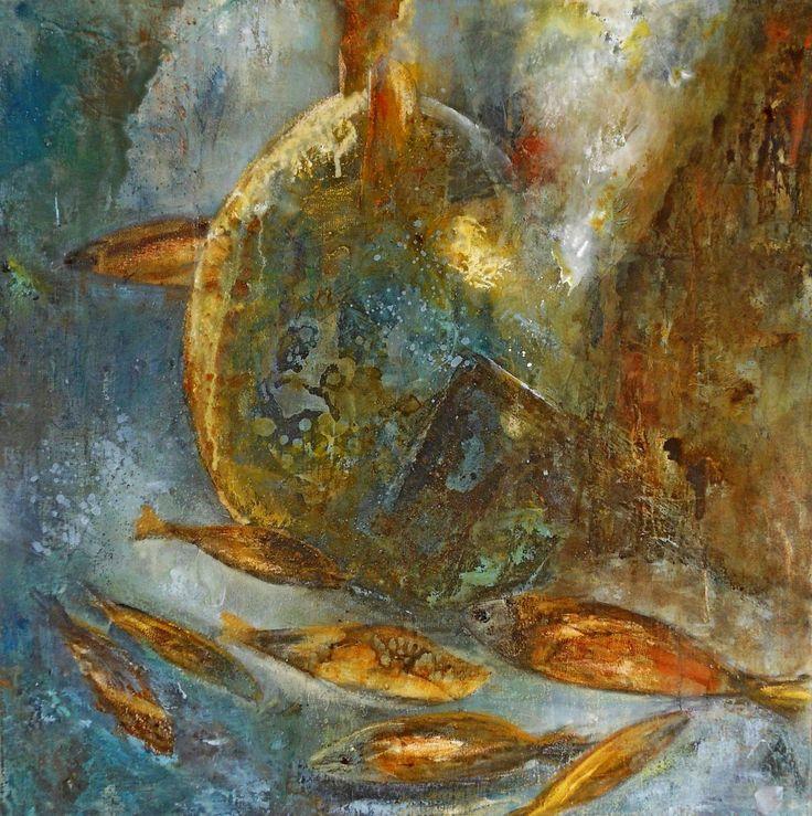 Poissons d'or  - acrylique 50 x 50  c) Suzanne Paliard octobre 2015