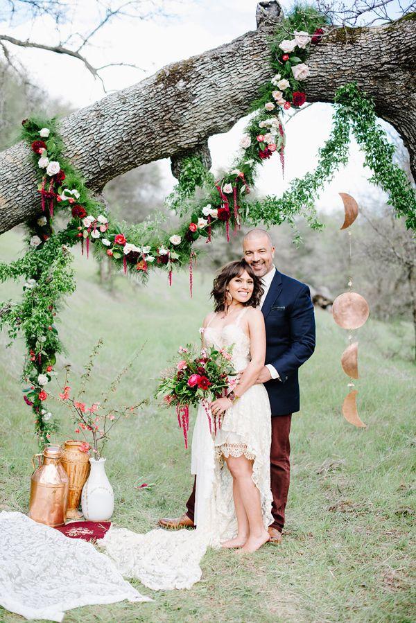 eco-friendly California wedding - photo by Shannon Rosan Photography http://ruffledblog.com/eco-friendly-california-wedding-with-marsala #bohemian #bohowedding #weddingideas