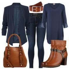 Beautiful business look from blue tunic, blue blazer and brown accessories