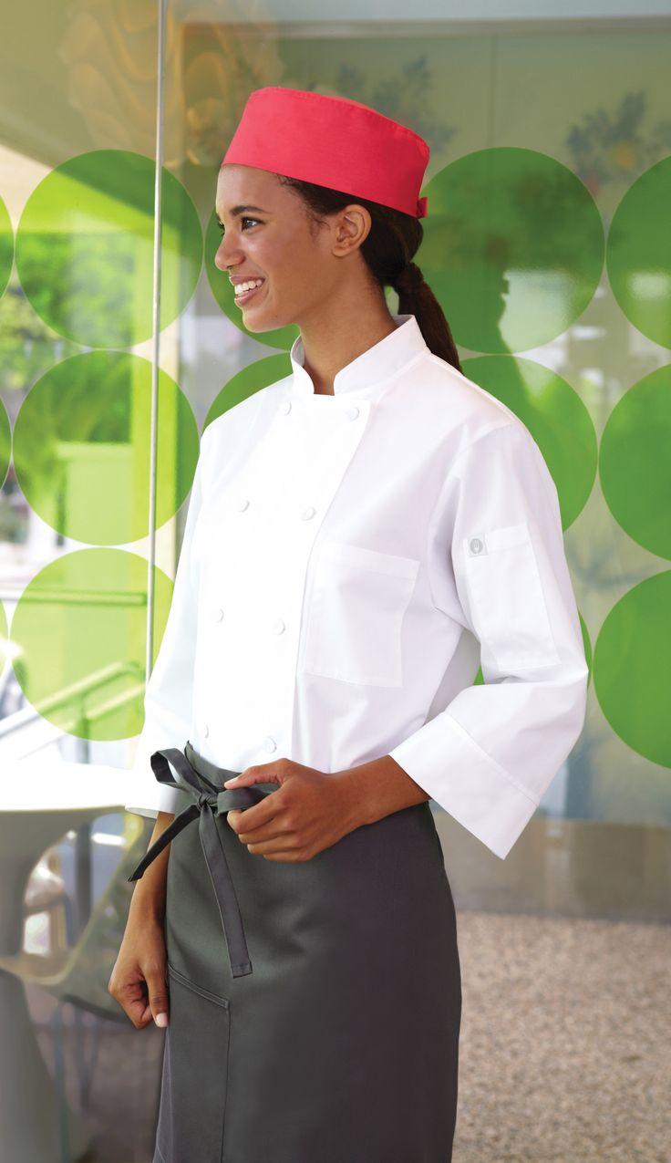 #White #chef# #jacket 3/4 sleeve