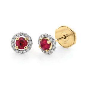 18ct Ruby & Diamond Studs 0.11ct TWD