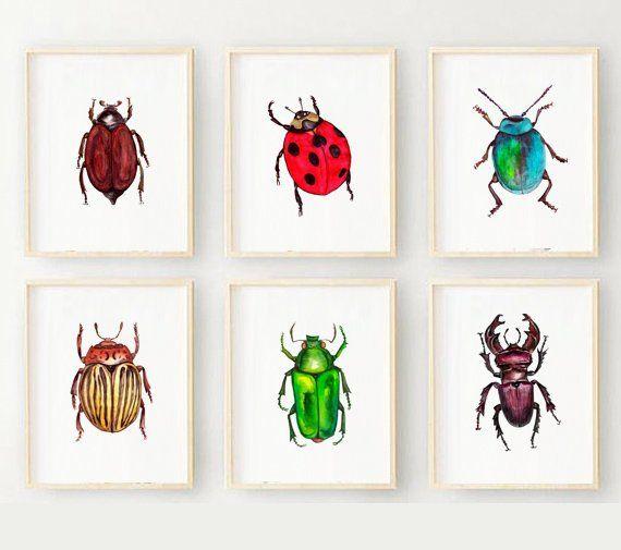 Nursery Wall Art Set Watercolor Bugs Nursery Boys Room Etsy In 2021 Insect Decor Nursery Room Boy Kid Room Decor