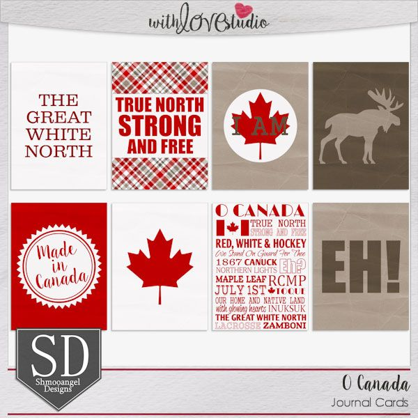 O Canada digital scrapbooking journaling cards from Shmooangel Designs. This red white and brown kit is perfect for documenting everything Canadian.