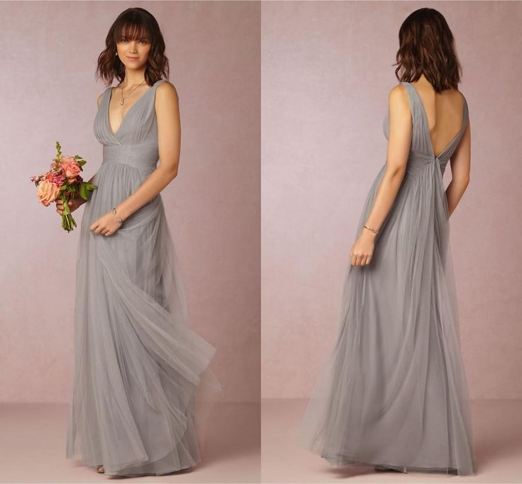 Buy wholesale pewter bridesmaid dresses,pink bridesmaids dresses along with plus size bridesmaid dress on DHgate.com and the particular good one- 2016 bhldn bridesmaid dresses cheap a-line grey v-neck sleeveless pleat tulle floor length maid honor special occasion dresses for wedding is recommended by shangshangxi at a discount.