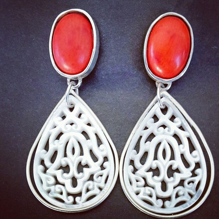 Mother of pearl and coral set in silver  earrings
