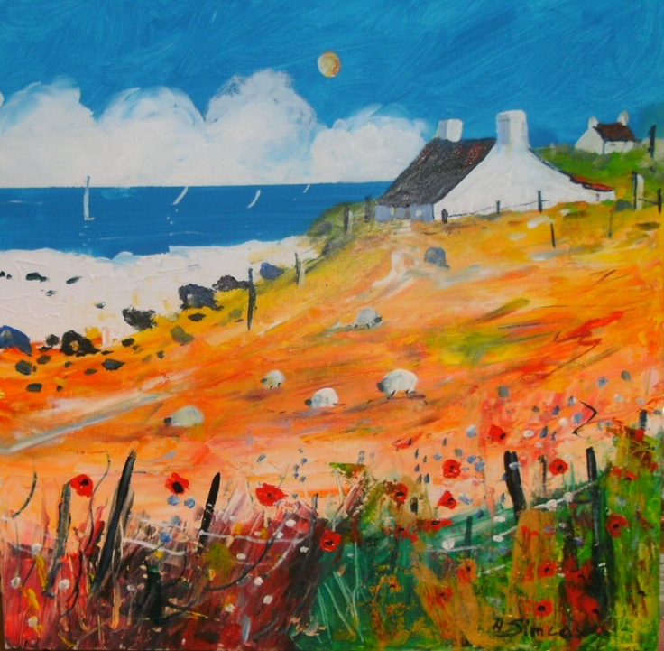Sheep on the Shore by Helen Simcox: Illustration, Landscape, Folkart