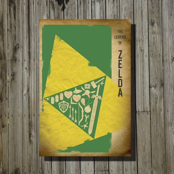 Minimalist Classroom Zelda : Zelda video game print movie poster minimalist