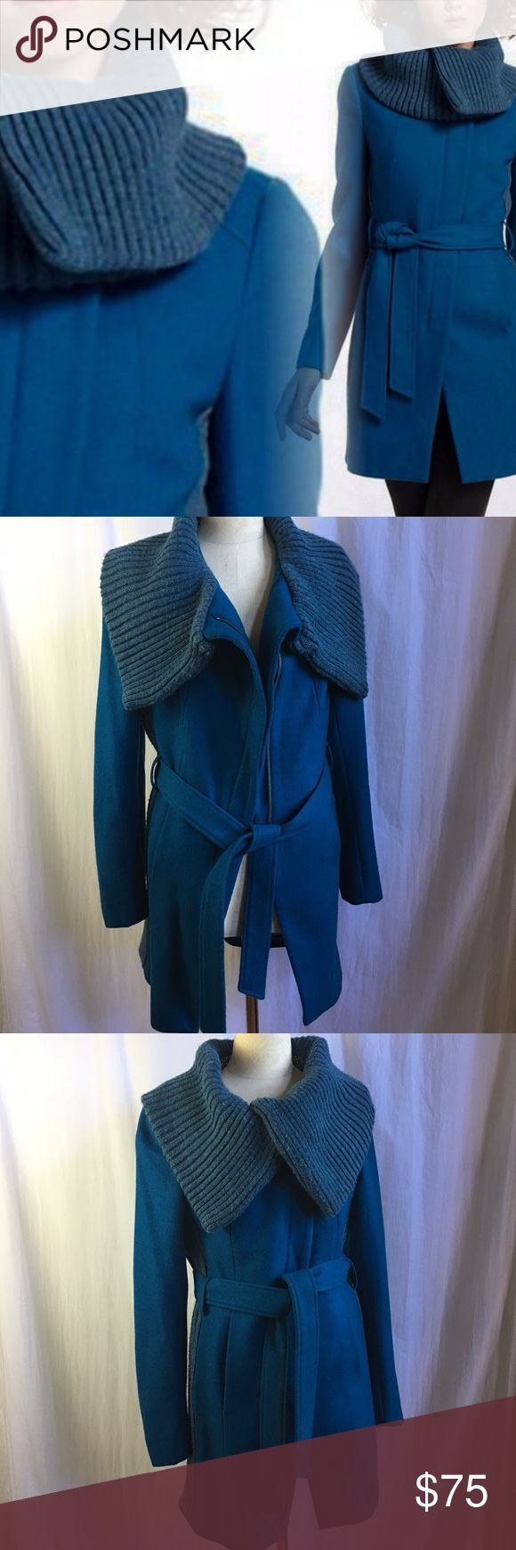 Anthro Elevenses Judith Collar Blue Wool Coat Anthropologie  Elevenses Judith Collar Blue Wool Coat sz 6.  Make a statement this Winter.  Ribbed Sweater knit fall over collar.  Wool Blend and Asymetrical Zip Front. Sweater panels add contrast underneath each arm to hem.  Belted for added warmth.  Approx Measurements in inches: Bust:36 Waist:34Sleeve:26 Length:34.  Sku#1024107139-20 Anthropologie Jackets & Coats