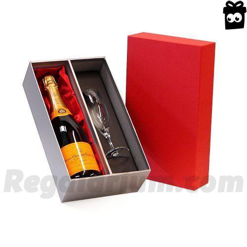 Rojo Veuve Clicquot Champagne de 750 ml y la sensación de lujo y de la flauta de plata Caja de regalo – Ideas de regalos para -Christmas, cumpleaños, boda, aniversario, compromiso, San Valentín, Jubilación, él, ella, gracias, día de padres, del día de madres, el 18, 21 , 30, 40, 50, 60, 70, 80, 90, número 100