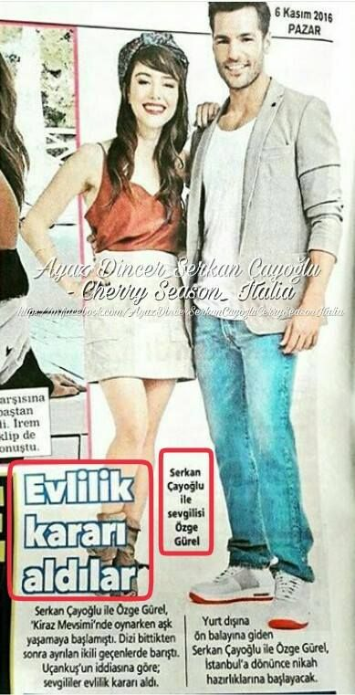 Cherry Season l'annuncio del matrimonio di Serkan e Ozge sul giornale turco