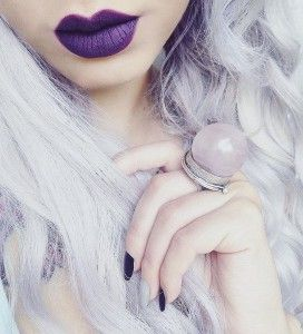 Purple Lipstick Makeup idea with Lavender Hairstyle