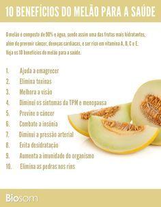Clique na imagem e veja os 10 benefícios do melão para a saúde. #alimentação…
