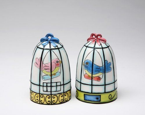 Appletree Design Flights of Fancy Birdcage Salt and Pepper Set, 3-1/8-Inch by Appletree Design inc. $16.25. Hand wash only, do not put in dishwasher. Ceramic and dolamite material. constructed with quality and durability in mind.. Functional and decorative salt and pepper set. Unique and colorful, add fun and whimsy to your kitchen and home décor. Comes gift boxed, will make a great gift for yourself or someone special. Appletree Design is noted for its collection of w...