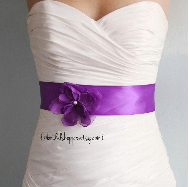 PETITE JOSIE VIOLET - Orchid Purple Satin Bridal or Bridesmaids Sash. $53.00, via Etsy.