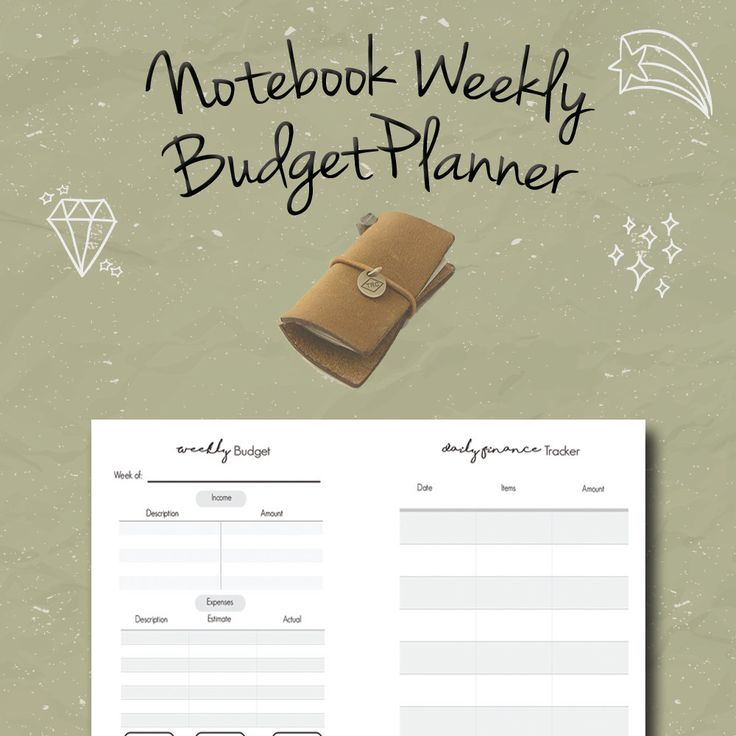 Midori Weekly Budget Planner Insert, Financial Tracker, Fauxdori, Travelers Notebook Insert,Leather Notebook Refill, Foxy dori, PDF by BrookeEvahPrints on Etsy