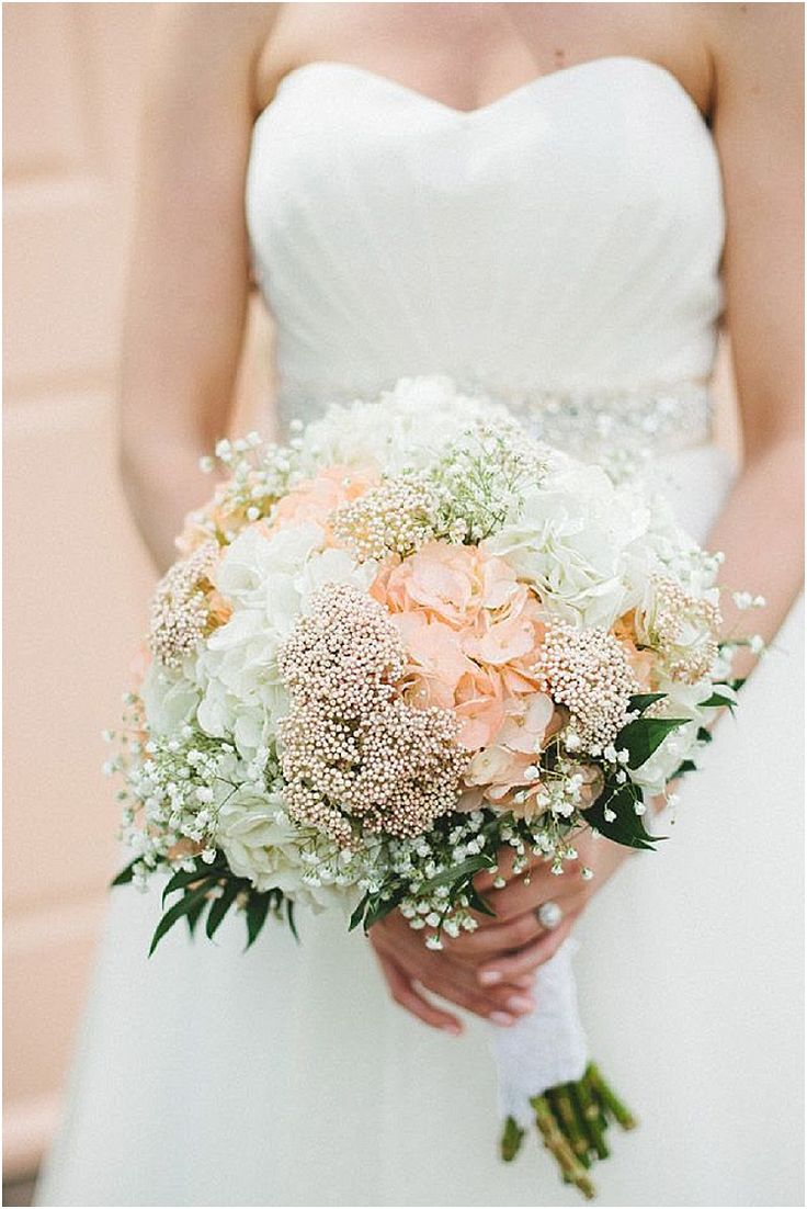 hydrangea and baby breath bridal bouquets