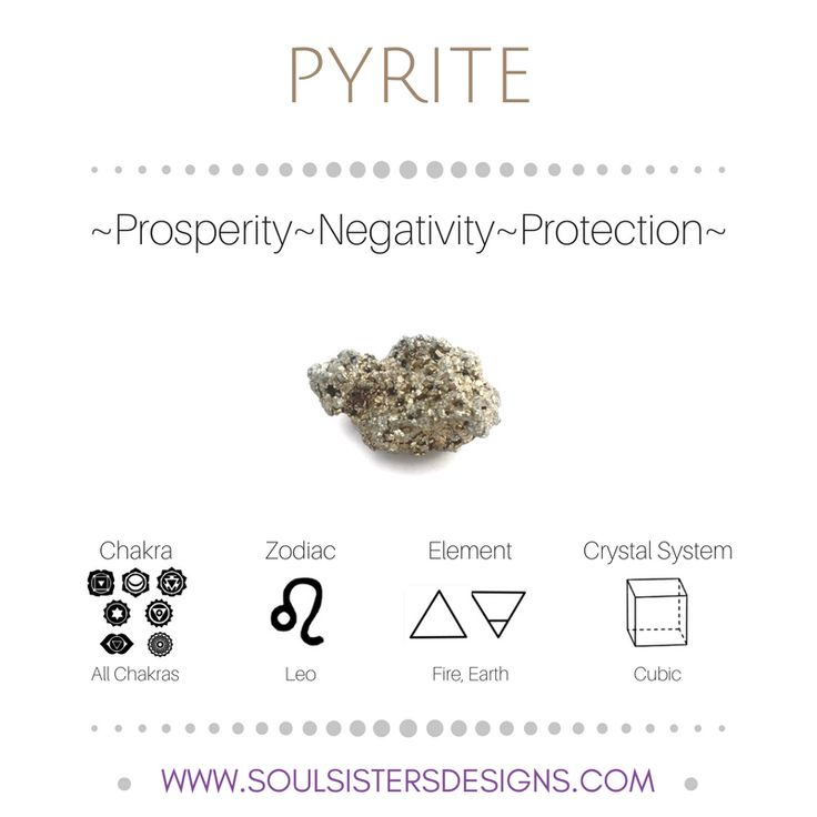 Metaphysical Healing Properties of Pyrite, including associated Chakra, Zodiac and Element, along with Crystal System/Lattice to assist you in setting up a Crystal Grid. Go to https:/wwwsoulsistersdesigns.com to learn more!