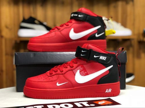 77fbba9f09 Womens Mens Nike Air Force 1 Mid Utility Red Black Shoes-4 | Nike ...