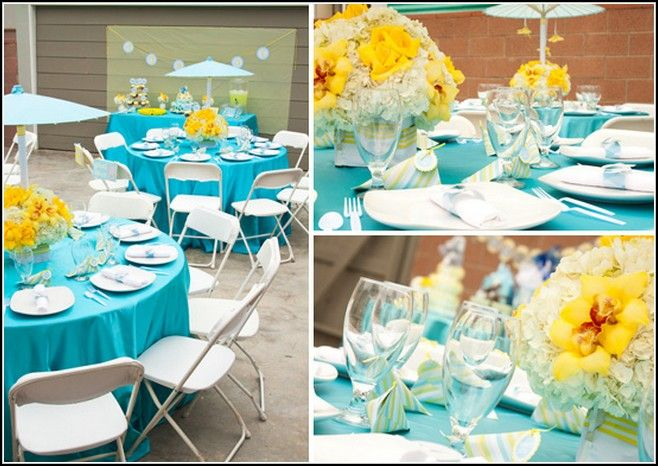 turquoise and yellow baby shower decorations event decor details