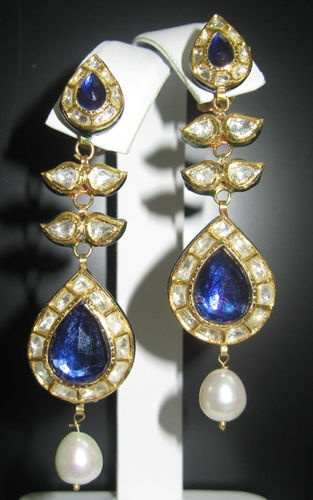 Sapphire Iolite Diamond Pearl Chandelier Enamel Earrings 22K 14k Gold |
