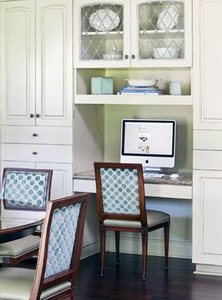 Exactly what we want - small work area in built-ins along one wall of dining room