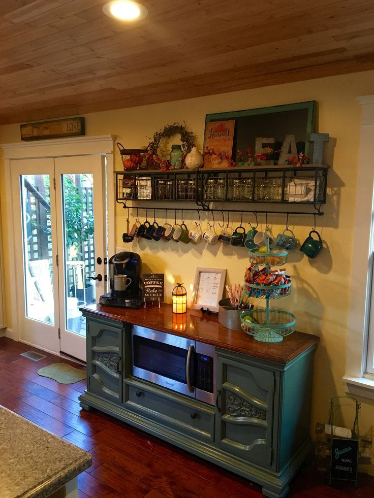 The coffee snack bar. Repurposed dresser turned microwave cart. I love this space!