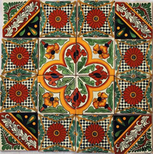 W118-16-Mexican-Talavera-Tiles-Clay-Handpainted-4x4