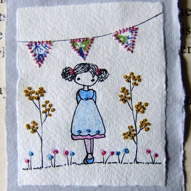 celebration embroidered drawing by lili_popo, via Flickr