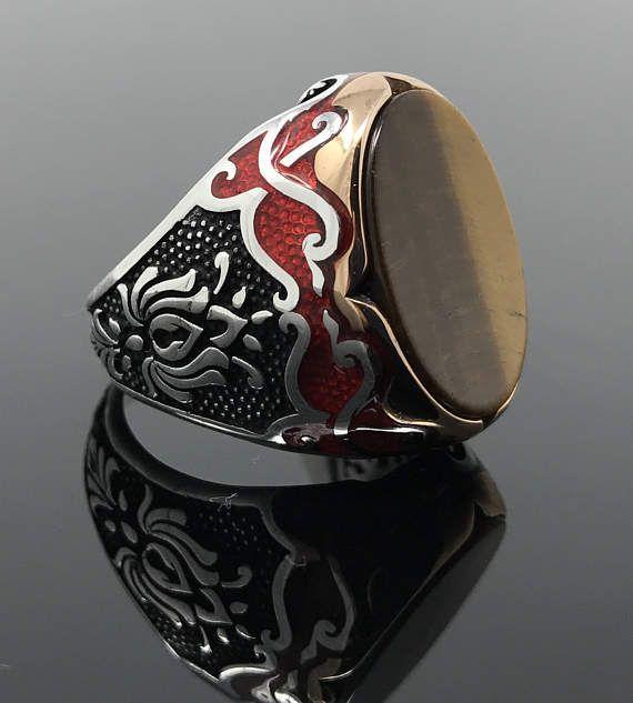 Newly Designed 925K Sterling Silver Tiger's Eye Men's