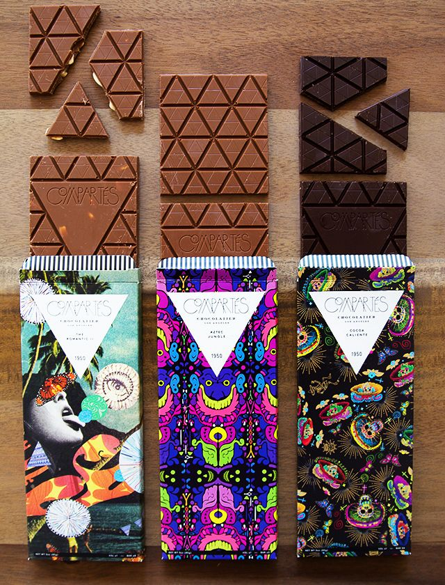Creative packaging and product design. Chocolate bar packaging with colorful print.