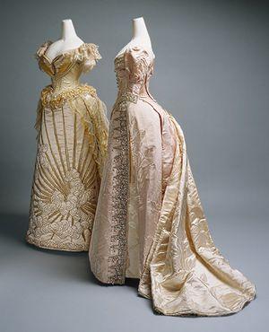 Evening dress, ca. 1887  Charles Frederick Worth (French, born England, 1825–1895)  Silk, glass, metallic thread