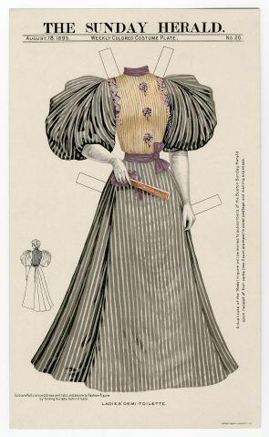 Бумажные куклы, ретро Повседневное платье-1895