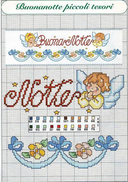 bambini scritta buonanotte angioletti (1) - magiedifilo.it punto croce uncinetto schemi gratis hobby creativi